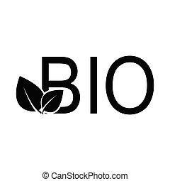 ベクトル, 黒, 印, bio, アイコン