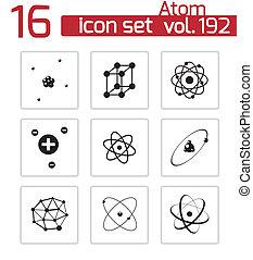 ベクトル, 黒, 原子, アイコン, セット
