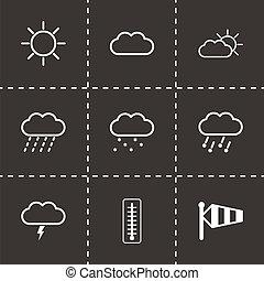 ベクトル, 黒, 天候, セット, アイコン