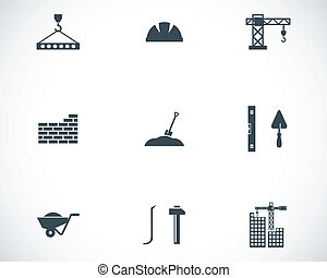 ベクトル, 黒, 建設, アイコン, セット