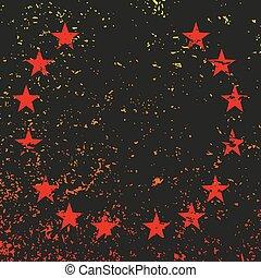 ベクトル, 黒, 星, 背景, 赤, grunge., イラスト