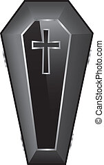 ベクトル, 黒, 棺, illustration.