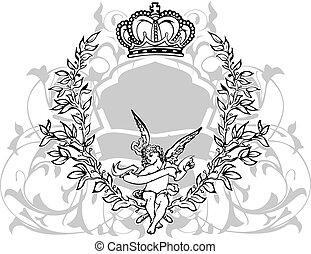 ベクトル, 黒, 灰色, cupid., 白, 冠をかぶせられた, illustration.