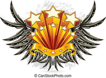 ベクトル, 黒, 翼, 紋章