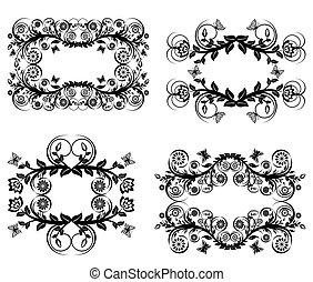 ベクトル, 黒, 花, 背景, フレーム, 隔離された, セット, 白, イラスト