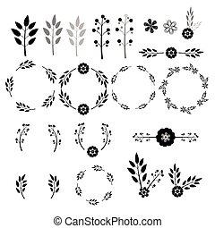 ベクトル, 黒, 花