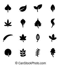 ベクトル, 黒, 葉, アイコン, セット