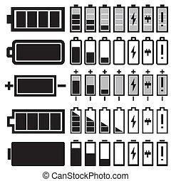 ベクトル, 黒, 電池, セット, アイコン