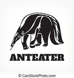 ベクトル, 黒, anteater., イラスト