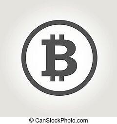 ベクトル, 黒, bitcoins, アイコン