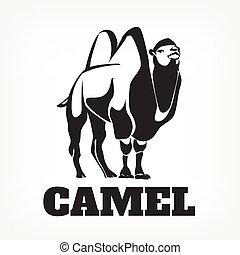 ベクトル, 黒, camel., イラスト