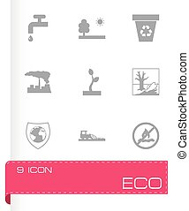 ベクトル, 黒, eco, アイコン, セット