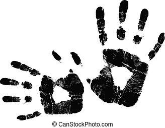 ベクトル, 黒, handprint