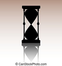 ベクトル, 黒, hourglass., silhouette.