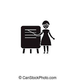 ベクトル, 黒, icon., 教師, 印, 女, イラスト, 概念, 平ら