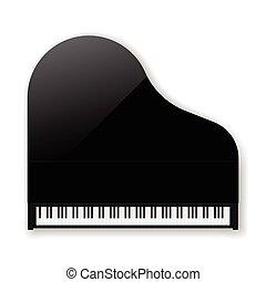 ベクトル, 黒, piano., クラシック, 壮大