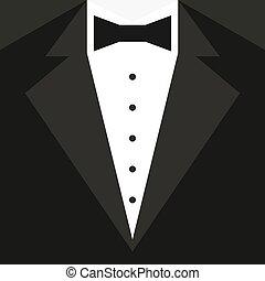ベクトル, 黒, shirt., 蝶, タキシード, 白, イラスト