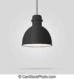 ベクトル, 10, lamp., 天井, 黒, illustration., eps