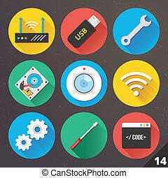 ベクトル, 14., セット, web., アイコン