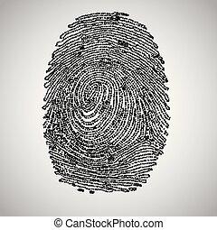ベクトル, 2進, 作られた, コード, 指紋