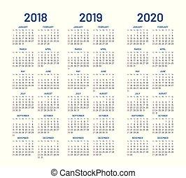ベクトル, 2019, 2018, 年, 2020, カレンダー