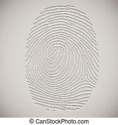 ベクトル, 3d, イラスト, 指紋