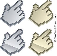 ベクトル, 3d, カーソル, 金属