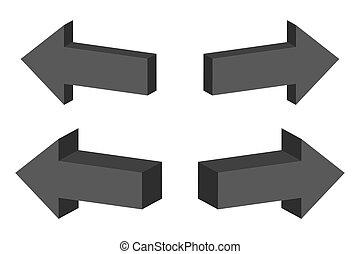 ベクトル, 3d, セット, illustration., arrows.