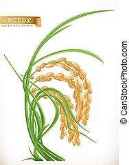 ベクトル, 3d, rice., アイコン