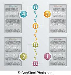ベクトル, 4, infographic, ステップ, 穴があいた, template.