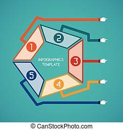 ベクトル, 5, 抽象的, infographic, ステップ