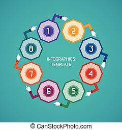 ベクトル, 8, 抽象的, infographic, ステップ