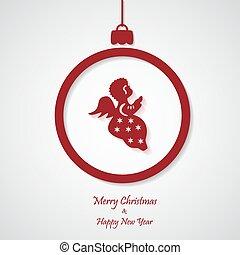 ベクトル, angel., ペーパーを切りなさい, 背景, クリスマス, 赤, design.