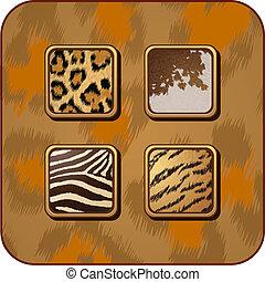 ベクトル, app, セット, 動物, 皮
