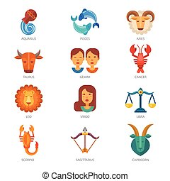 ベクトル, aquarius, 背景, 星占い, scorpio, シンボル, 牡羊座, 隔離された, taurus, ∥あるいは∥, virgo, 天秤座, イラスト, 占星である, サイン, 黄道帯, 魚座, カレンダー, zodiacal, 白, 占星術