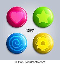 ベクトル, badges., セット, グロッシー, カラフルである