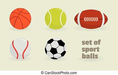 ベクトル, balls., セット, スポーツ, illustration.