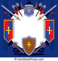 ベクトル, banner., 騎士, 兵器類, illustration., ウェブサイト, 挨拶, 中世, パターン,...