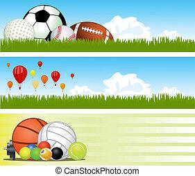 ベクトル, banners., スポーツ