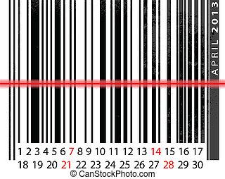 ベクトル, barcode, イラスト, 4 月, カレンダー, 2013, design.