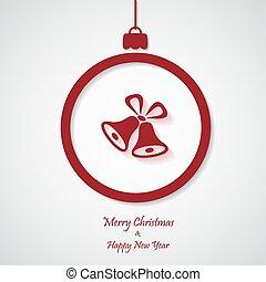 ベクトル, bell., ペーパーを切りなさい, 背景, クリスマス, 赤, design.