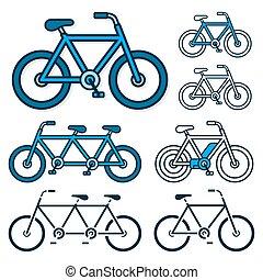 ベクトル, bicycles, ebike, コレクション, アイコン