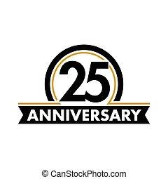 ベクトル, birthday, 珍しい, 5分の20, シンボル。, jubilee., circle., 記念日, 弧, logo., label., 第25, 抽象的, 25, 年