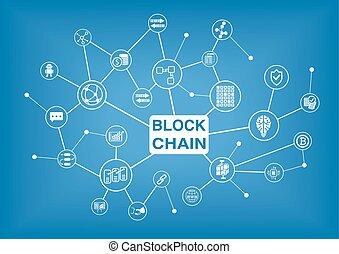 ベクトル, blockchain, イラスト, 背景