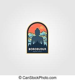 ベクトル, borobudur, 壮麗, イラスト, 寺院, すばらしい, ロゴ, インドネシア