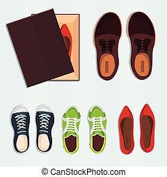 ベクトル, box., セット, 靴, illustration.