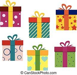 ベクトル, box., セット, boxes., 贈り物