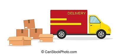 ベクトル, boxes., illustration., 配達用バン