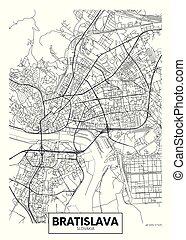 ベクトル, bratislava, 都市, 詳しい, 地図, ポスター