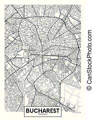 ベクトル, bucharest, 都市, 詳しい, 地図, ポスター